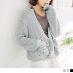柔軟針織金屬釦口袋燈籠袖開襟外套.3色