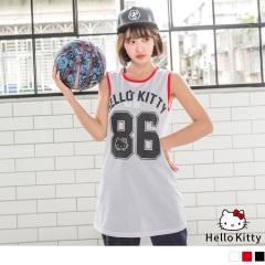 KITTY運動系列~鏤空網眼布86印圖長版背心.3色