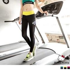 0725新品 KITTY運動~撞色腰頭後拉鍊運動褲/瑜伽褲.2色