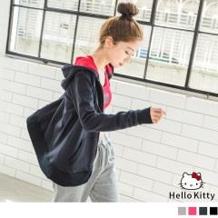 KITTY運動系列~手臂燙印拼色連帽棉外套.4色
