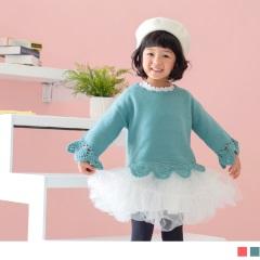 質感織花造型針織上衣‧童2色