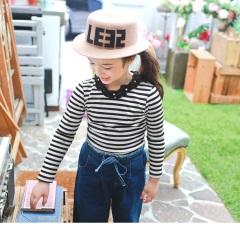橫條紋珍珠花邊領設計上衣‧童1色