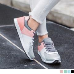 台灣製造~金屬光澤拼色運動休閒鞋.4色