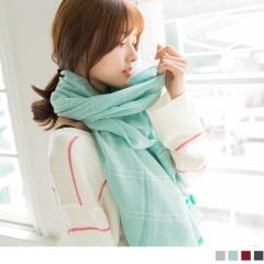 0203新品 質感純色格紋繡線流蘇造型圍巾.4色