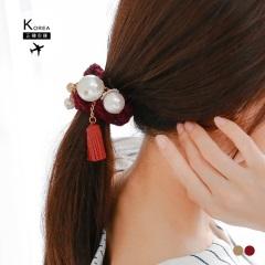 【特價款】珍珠流蘇編織毛線髮圈/手環.2色