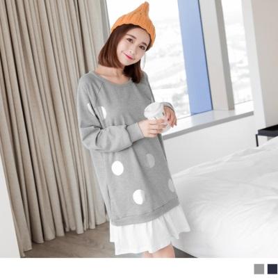 0925新品 拼接純白抓皺裙襬銀色點點燙印棉感連袖洋裝.2色