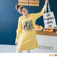 時尚人物燙印側擺開衩棉感長版上衣/洋裝.3色