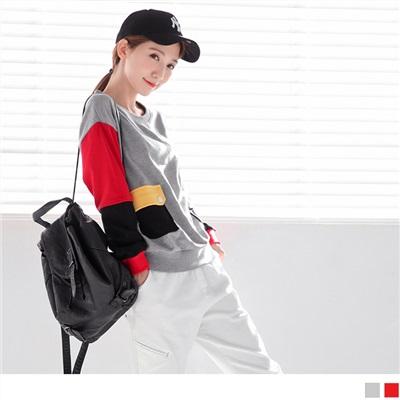 拼色設計造型開釦雙口袋落肩圓領上衣.2色