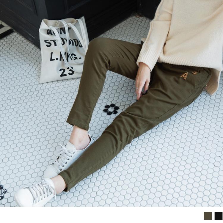 豹紋字母貼布造型抽繩直筒褲