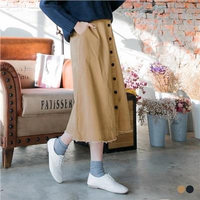 後腰圍鬆緊前排釦下襬抽鬚斜紋棉感中長A字裙.2色