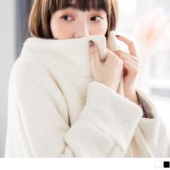 素色毛呢質感袖配色翻領單釦大衣/外套.2色