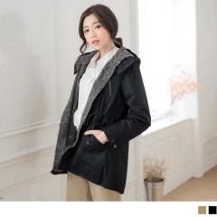 素色拼混色造型鋪棉連帽高領抽繩風衣外套.2色