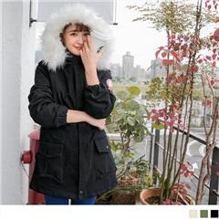 造型雙口袋內鋪棉白毛領連帽軍裝風衣外套.3色