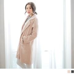 毛呢翻領設計長版寬鬆外套/大衣.2色