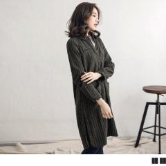 直條紋磨毛徽章造型長版襯衫外套/洋裝.2色
