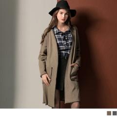 麂皮質感縫線滾邊造型長版開襟外套.2色