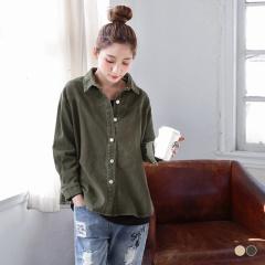 輕磨毛純色厚料棉質斜紋布落肩襯衫/外套.2色