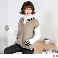 0214新品 配色羅紋滾邊拉鍊設計針織棒球外套.2色