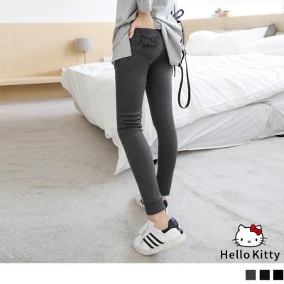 0809新品 HELLO KITTY口袋刺繡造型彈性窄管褲.3色