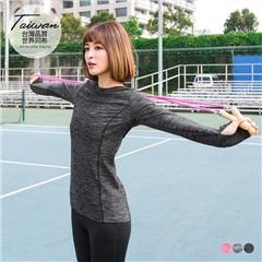 台灣品質.世界同布~圓領露指袖合身運動上衣.3色