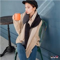 雙色漸層立體壓褶尾端抽鬚圍巾.3色