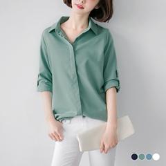 蕾絲鏤空造型質感面料襯衫上衣.4色