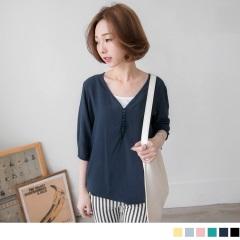 0622新品 純色V領排釦五分袖兩件式上衣.6色