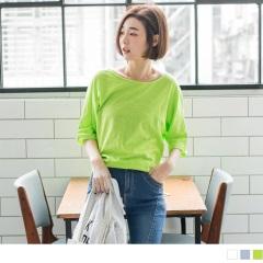 素色竹節棉感五分連袖設計上衣.3色