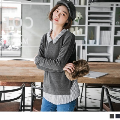 1012新品 拼接條紋襯衫領設計素色坑條寬鬆上衣