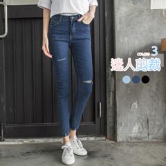0317新品 經典牛仔割破造型褲管刷破設計窄管褲.3色