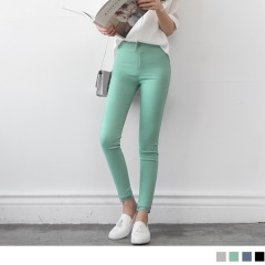 【初夏特賣會♥2件5折】氣質蕾絲拼接純色棉感彈性修身窄管褲.4色