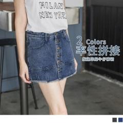 0316新品 鬚邊車線造型排釦開釦牛仔褲裙‧2色