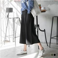 特殊打摺造型雙口袋腰圍鬆緊寬褲.2色