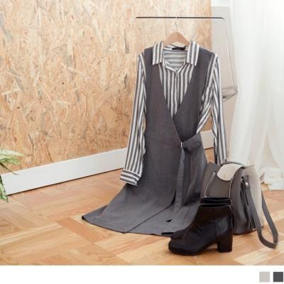 素色前交叉造型腰間金屬釦環設計連身洋裝.2色