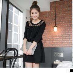 0526新品 純色點點網紗圓領腰抽繩七分袖寬鬆洋裝.2色