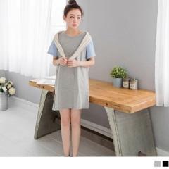 0621新品 拼接格紋袖設計素面不規則傘襬寬鬆棉感洋裝.2色