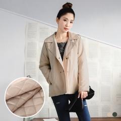 0214新品 素面翻領雙排釦設計內鋪棉寬鬆風衣外套.2色
