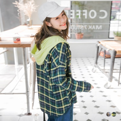 配色格紋開釦設計抽繩連帽寬鬆上衣/外套.2色