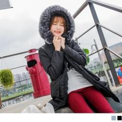 0222新品 素面翻蓋口袋設計可拆式蓬鬆毛領鋪棉長版外套.2色