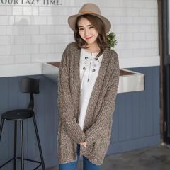 0222新品 混色麻花針織蝙蝠袖開襟長版外套