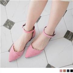 台灣製造~可調式繫帶尖頭平底鞋.4色
