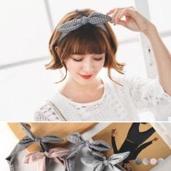0331新品 千鳥格紋立體蝴蝶結鬆緊髮帶.4色