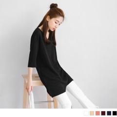 素色質感壓紋V領五分袖寬鬆長版上衣/洋裝.6色