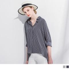 0414新品 直條紋雪紡打褶前短後長寬鬆長袖襯衫.2色