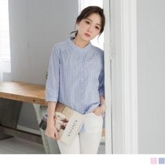 0526新品 粉嫩系格紋無領設計七分袖棉感襯衫.2色