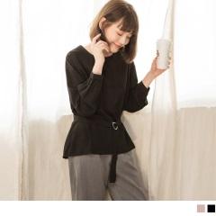 0414新品 金屬釦環腰綁帶圓領長袖垂綴上衣.2色