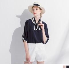 0420新品 雪紡配色附領巾造型圓領七分袖寬鬆上衣.2色