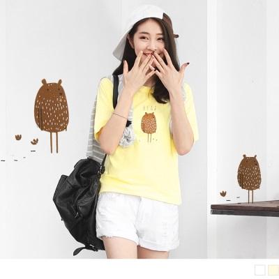 0707新品 塗鴉小熊燙印純色高棉量連袖T恤.2色