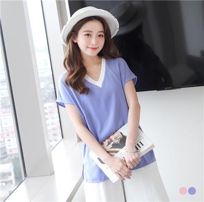 【夏日特賣會♥2件5折】拼色V領側襬開衩粉嫩色調連袖雪紡上衣.2色