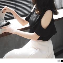 0511新品 純色透光質感面料荷葉挖肩上衣.2色